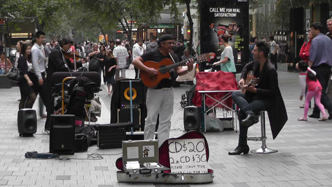 Sydney Pitt Street Musicians Tom Ward 03 Stock Video Footage