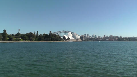 Sydney Royal Botanical Garden Farm Cove view to the... Stock Video Footage