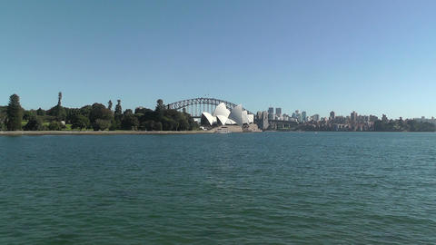 Sydney Royal Botanical Garden Farm Cove view to the Harbour Bridge and Opera House 01 Footage