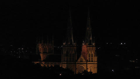 Sydney Saint Marys Cathedral at Night Stock Video Footage