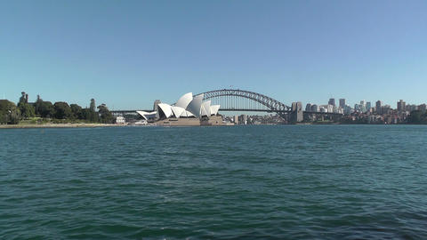 Sydney view to the Harbour Bridge and Opera House 02 Stock Video Footage