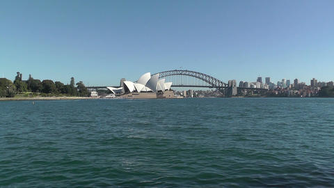 Sydney view to the Harbour Bridge and Opera House 02 Footage