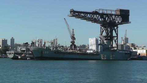 Sydney Wooloomooloo Bay Military Ships 01 Stock Video Footage