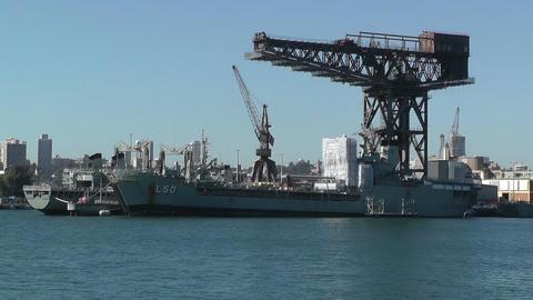 Sydney Wooloomooloo Bay Military Ships 01 Stock Video Footage