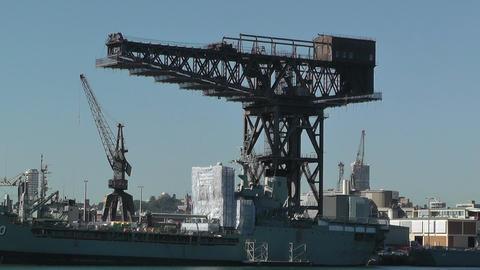 Sydney Wooloomooloo Bay Military Ships 03 Stock Video Footage