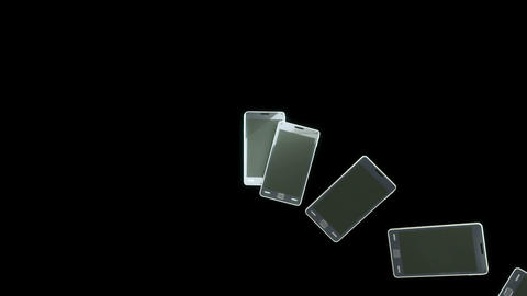 Communication: Group of Smart phones in a row. Alpha is included Animation