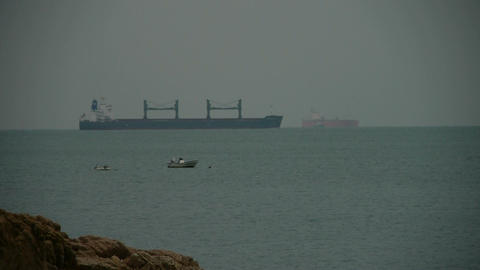 A Tanker boat on the sea,reef back Stock Video Footage