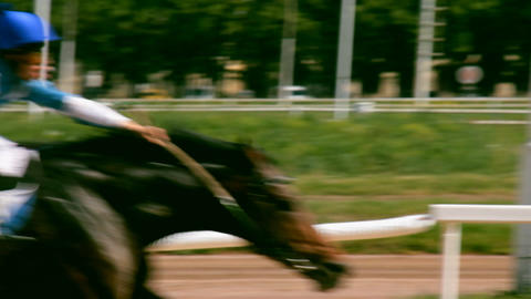 Horse riding on the racetrack Stock Video Footage