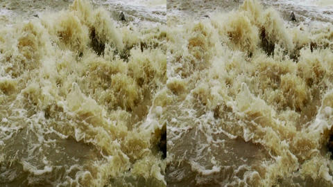 Stereoscopic 3D waterfall in a river 4 Stock Video Footage