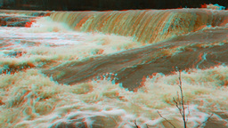 Stereoscopic 3D waterfall in a river 6 Stock Video Footage
