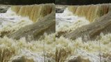 Stereoscopic 3D waterfall in a river 6 Footage