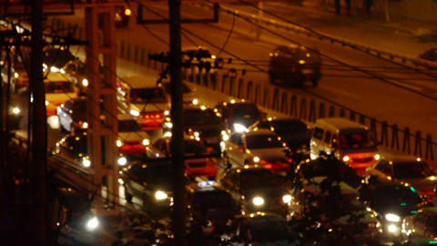 Shaking lighting at night,many cars on overpass,traffic... Stock Video Footage