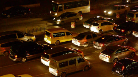 Many cars on road,traffic jam at night Footage