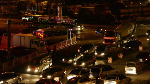 Many cars on road,traffic jam at night,crossroads,junctions Stock Video Footage
