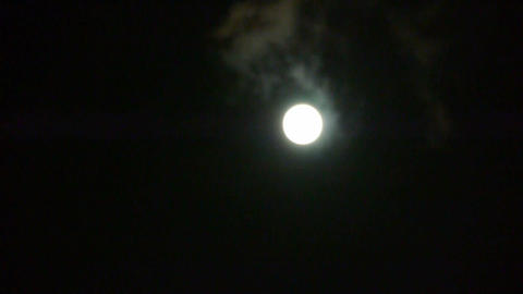 Full moon through cloudy,night flight over clouds,mystery... Stock Video Footage