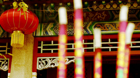 Chinese garden courtyard,red lantern,Burning incense in... Stock Video Footage