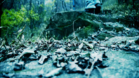 alone climber walking on mountain road Stock Video Footage