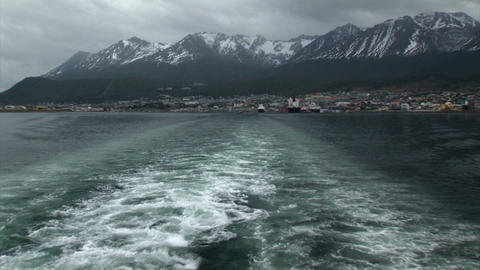South Georgia: expedition ship leaving harbor 2 Stock Video Footage