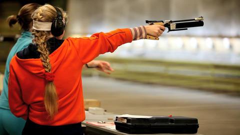 Firing the Air Pistol Stock Video Footage