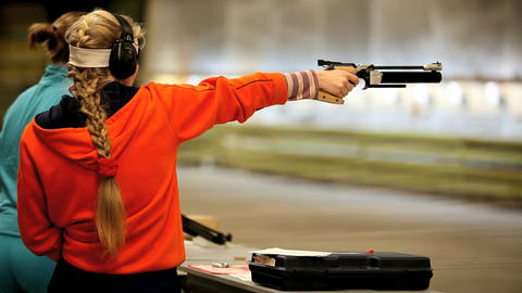 Firing the Air Pistol Stock Video Footage