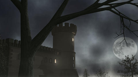 Haunted House w/ Lightning 1 CGI-HD Stock Video Footage