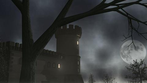 Haunted House w/ Lightning 1 CGI-HD Stock Video Footage