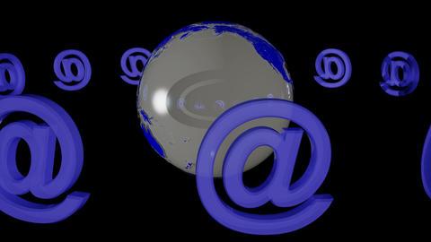 Internet - @ - Earth. Loop. CG. HD Stock Video Footage