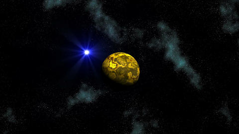 Planet and blue star (UFO) in depths of space Stock Video Footage