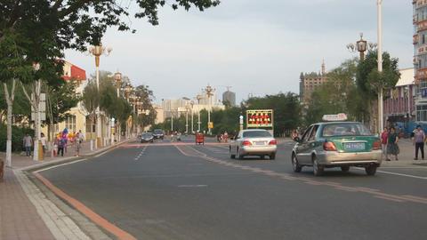 Heihe Evening Street Traffic 04 Stock Video Footage