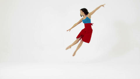 Female dancer running and jumping, slow motion Stock Video Footage