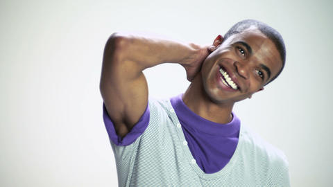 Smiling young man, spinning around Stock Video Footage