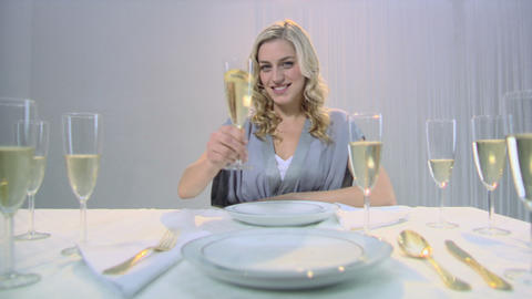 Woman drinking champagne Stock Video Footage
