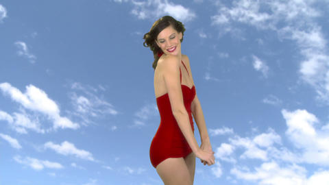 Beautiful young woman wearing swimsuit Stock Video Footage