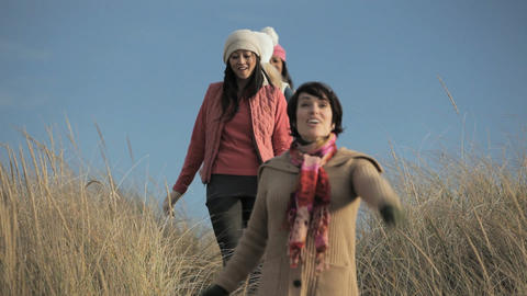 Female friends walking over dune Stock Video Footage