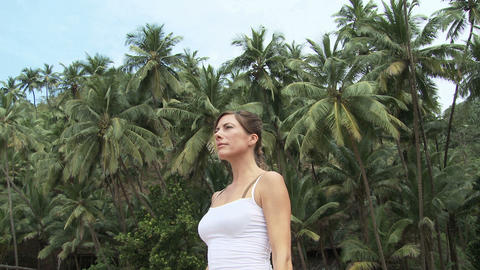 Woman practicing yoga Stock Video Footage