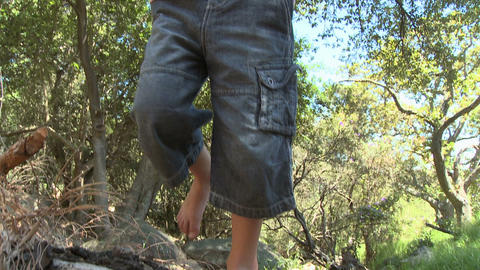 Boy on log, standing on one leg and walking Stock Video Footage
