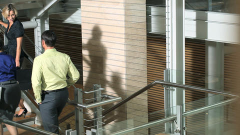 Colleagues walking up stairs Stock Video Footage