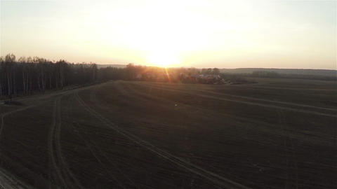 Aerial view of field roads at sunset in village, autumn, russian dacha Live Action