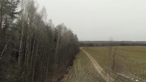 Aerial forest field border, byroad in country side, russian autumn, first snow,  Footage
