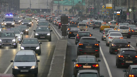 The flow of cars in the city of Moscow Footage