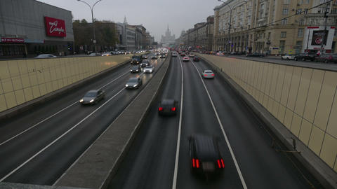 The flow of cars in the city of Moscow in the autumn time-lapse Footage
