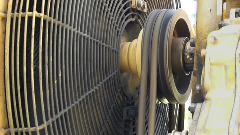 Industrial Motor Fanbelt Turning Closeup Footage
