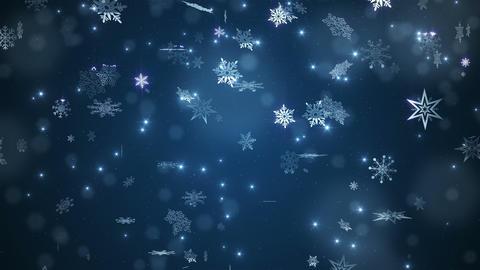 Blue beautiful falling snowflakes Animation