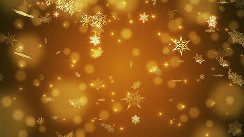 Gold beautiful falling snowflakes Animation