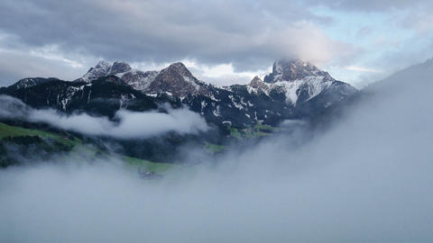 time lapse zoom fog clouds over prags valley dolomites 4k 11717 Footage