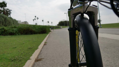 Bike Moves Along The Bike Path stock footage