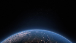 Earth rotating from night to day Animation