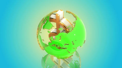 Dollar as axis of the world. Loop animation Animation