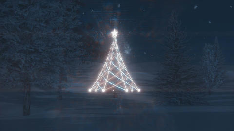 Glowing Christmas tree in the night forest Footage