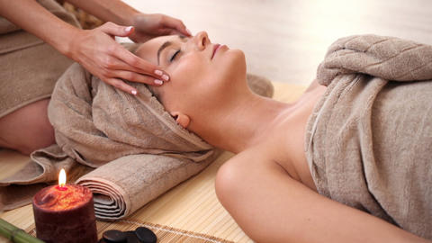 Woman Getting Face Massage stock footage